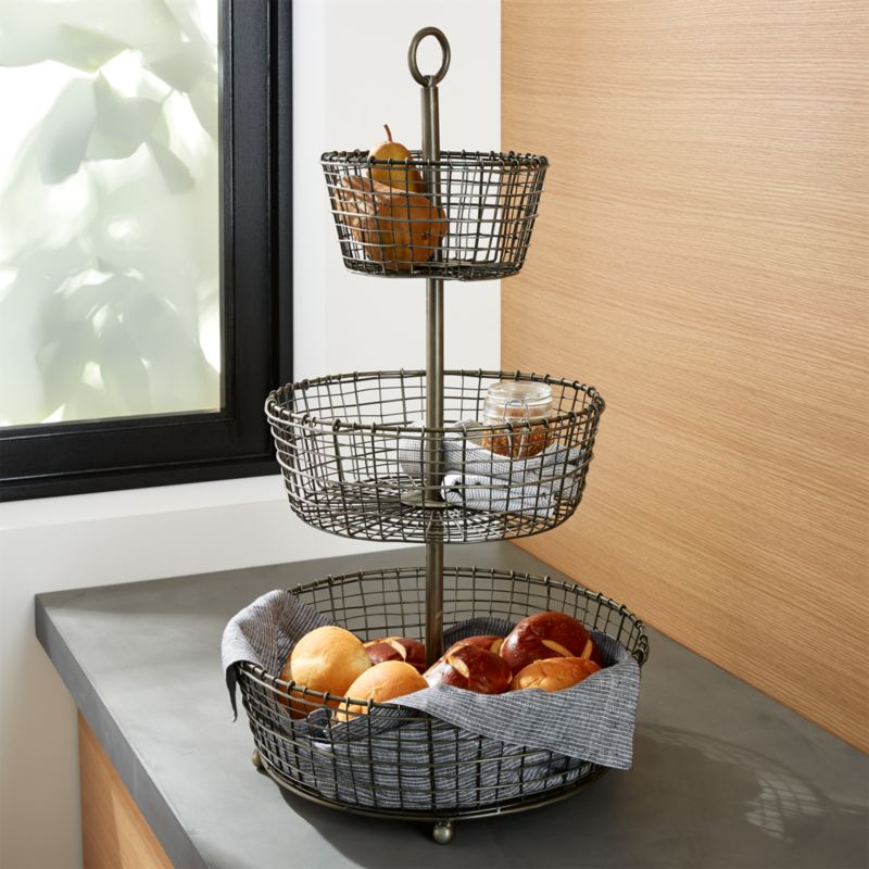 bendt 3 tier iron fruit basket reviews crate and barrel. Black Bedroom Furniture Sets. Home Design Ideas