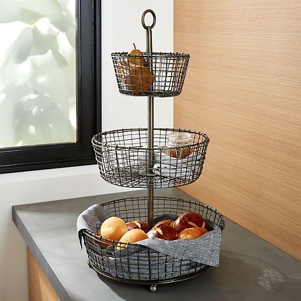 Rustic 3-Tier Iron Fruit Basket
