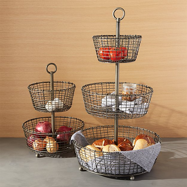 Lovely Bendt Tiered Iron Fruit Baskets | Crate and Barrel EO47