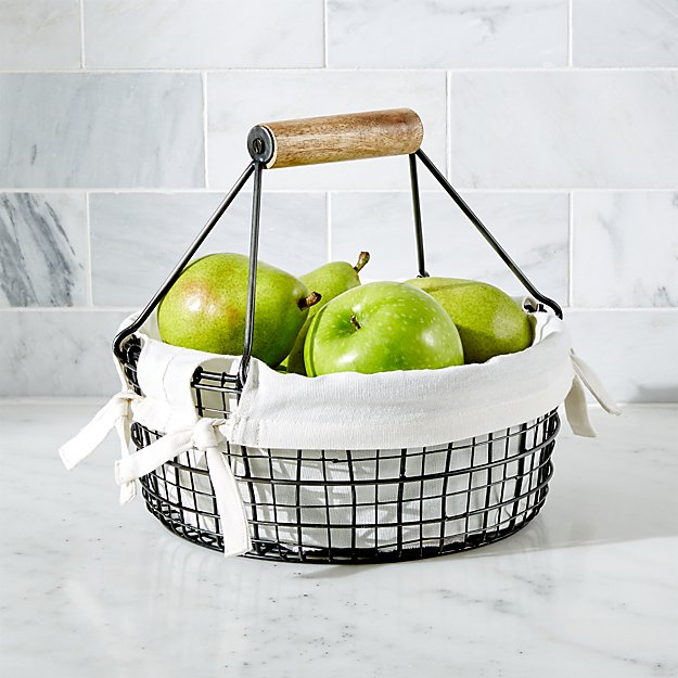 Fruit Basket with Rustic Handle
