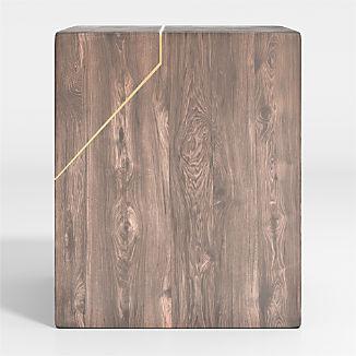 Rylan Brass-Inlaid Wood Block End Table
