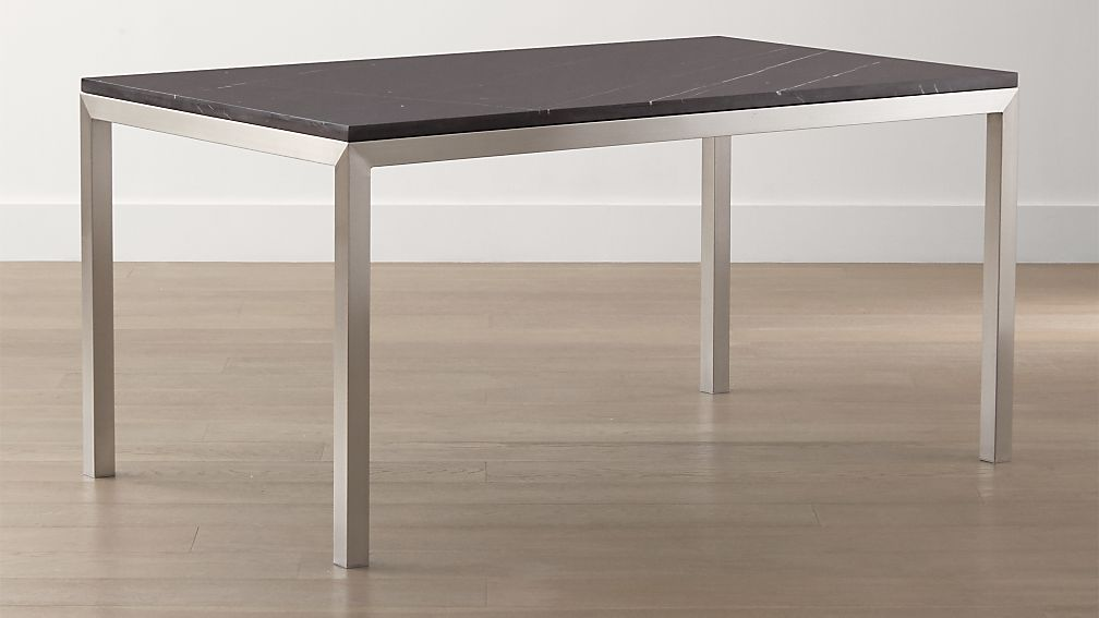 Parsons Black Marble Top Stainless Steel Base Dining Tables Crate And Barrel