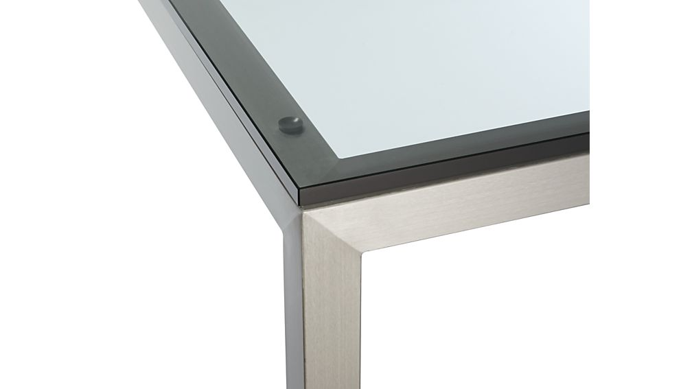 Parsons Clear Glass Top/ Stainless Steel Base 72x42 Dining Table