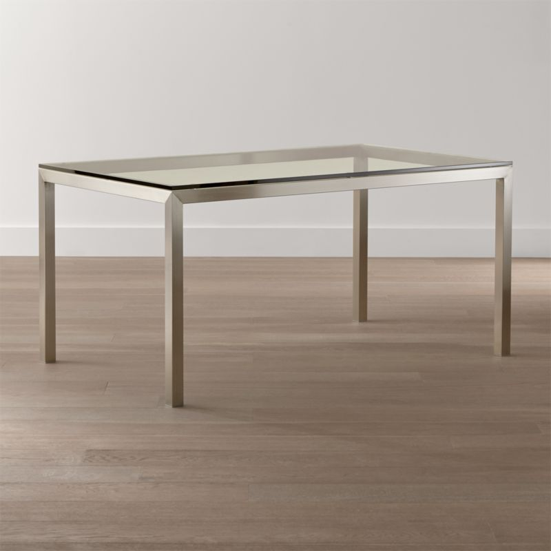 Parsons Clear Glass Top Stainless Steel Base Dining Tables Crate And Barrel