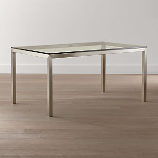 Parsons Clear Glass Top/ Stainless Steel Base Dining Tables