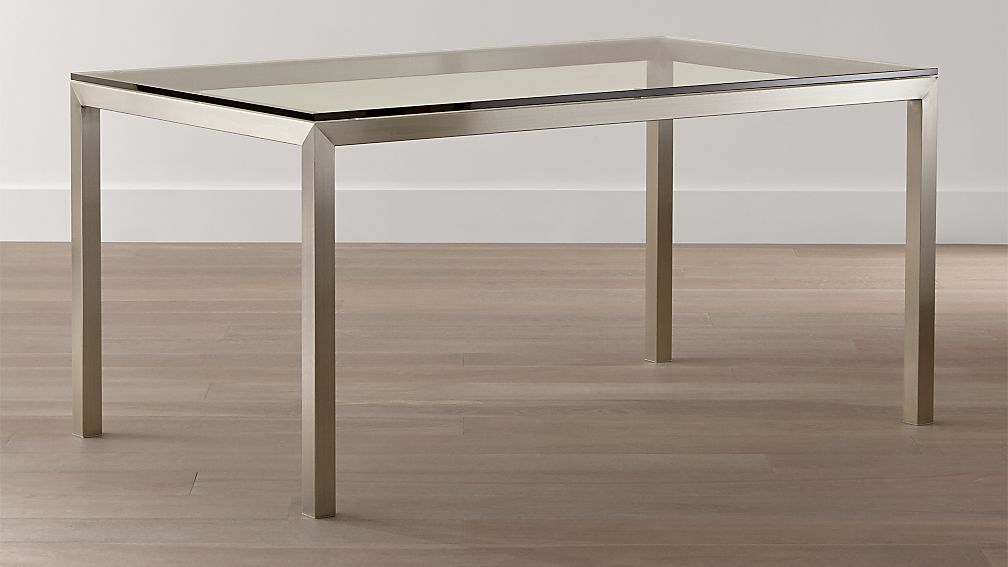 Parsons Clear Glass Top Stainless Steel Base Dining Tables