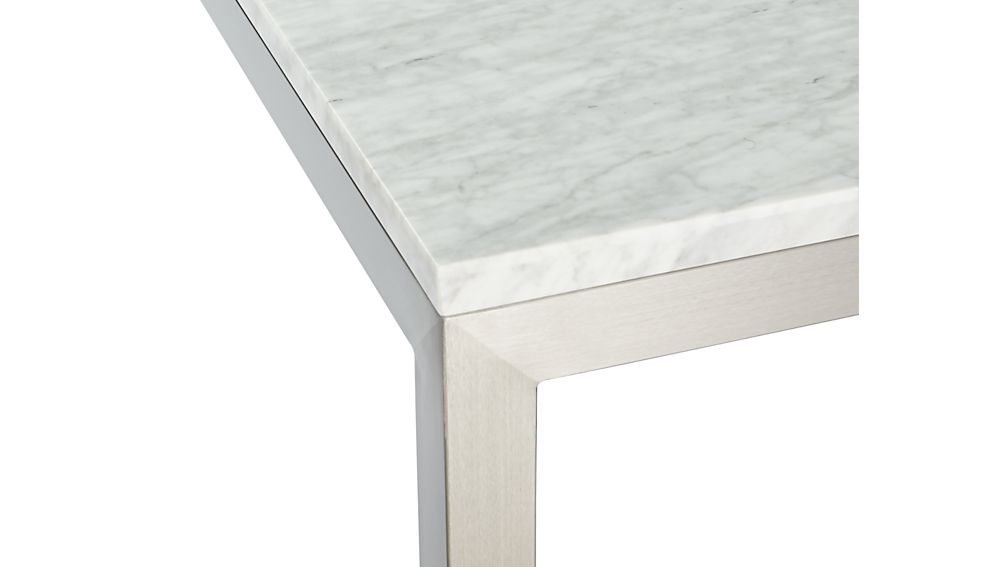 Parsons White Marble Top/ Stainless Steel Base 72x42 Dining Table