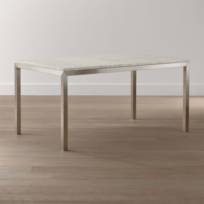 Lovely Parsons White Marble Top/ Stainless Steel Base Dining Tables  AJ22