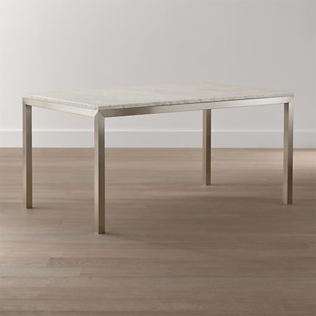 Parsons White Marble Top Stainless Steel Base Dining Tables