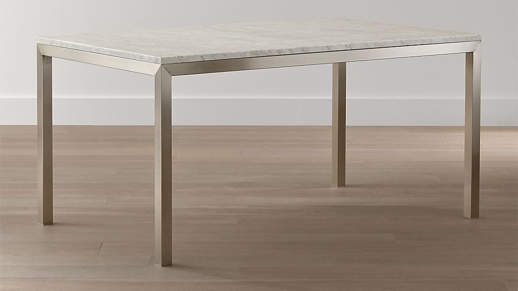 Parsons White Marble Top Stainless Steel Base Dining Tables Crate And Barrel