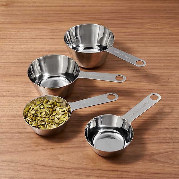 stainless steel measuring cups 2 3 3 4 1 1 2 crate and barrel. Black Bedroom Furniture Sets. Home Design Ideas