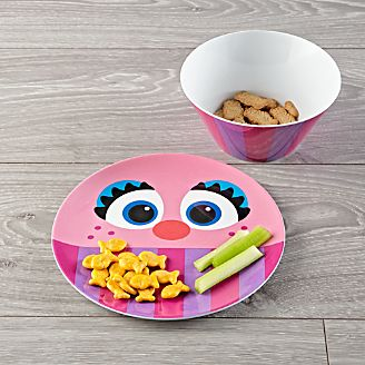 Abby Cadabby Melamine Plate and Bowl Set & Kids Placemats Plates \u0026 Utensils   Crate and Barrel