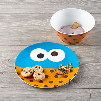 Cookie Monster Melamine Plate and Bowl Set & Melamine Dishes: Plates and Bowls | Crate and Barrel