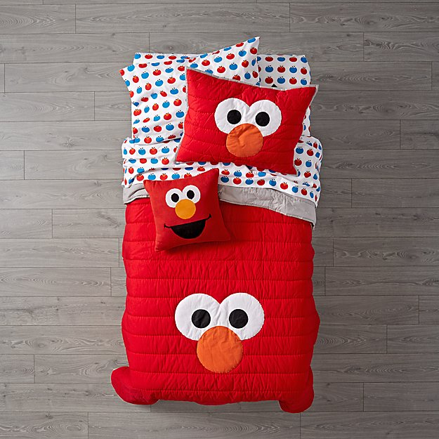 sesame street all eyes elmo quilt crate and barrel