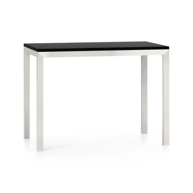 Parsons Black Marble Top Stainless Steel Base 48x28 High Dining