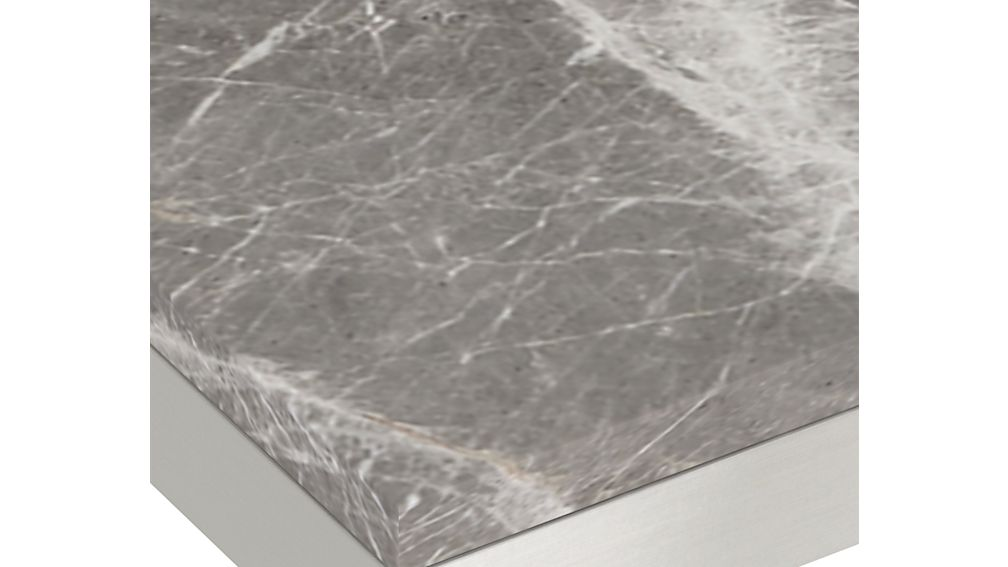 Parsons Grey Marble Top/ Stainless Steel Base 72x42 Dining Table