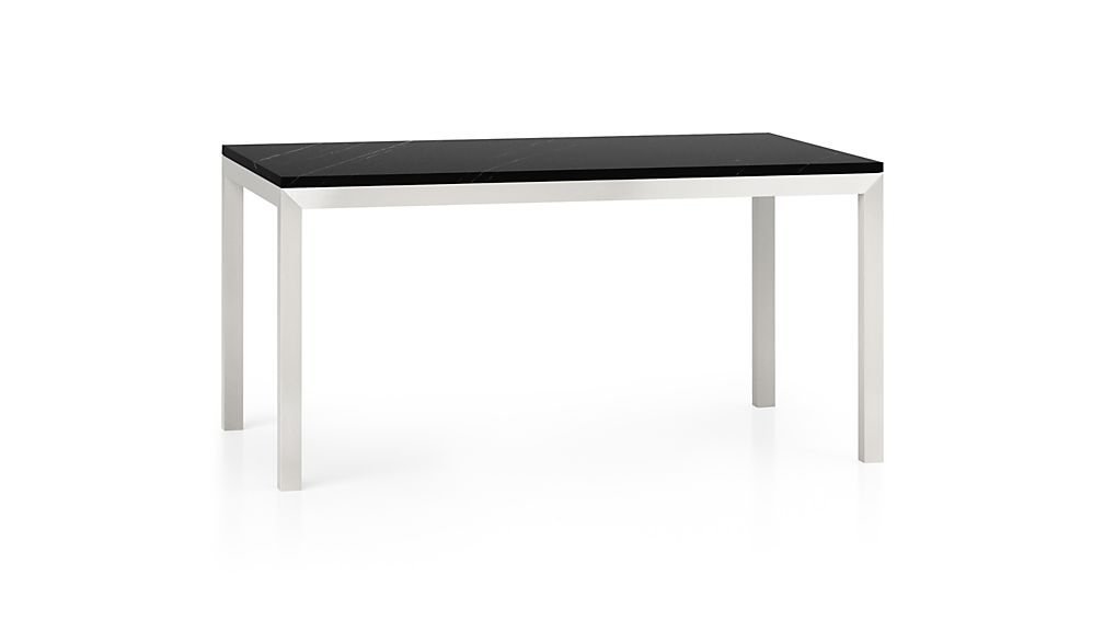 Parsons Black Marble Top Stainless Steel Base 48x28 High Dining Table Reviews Crate And Barrel