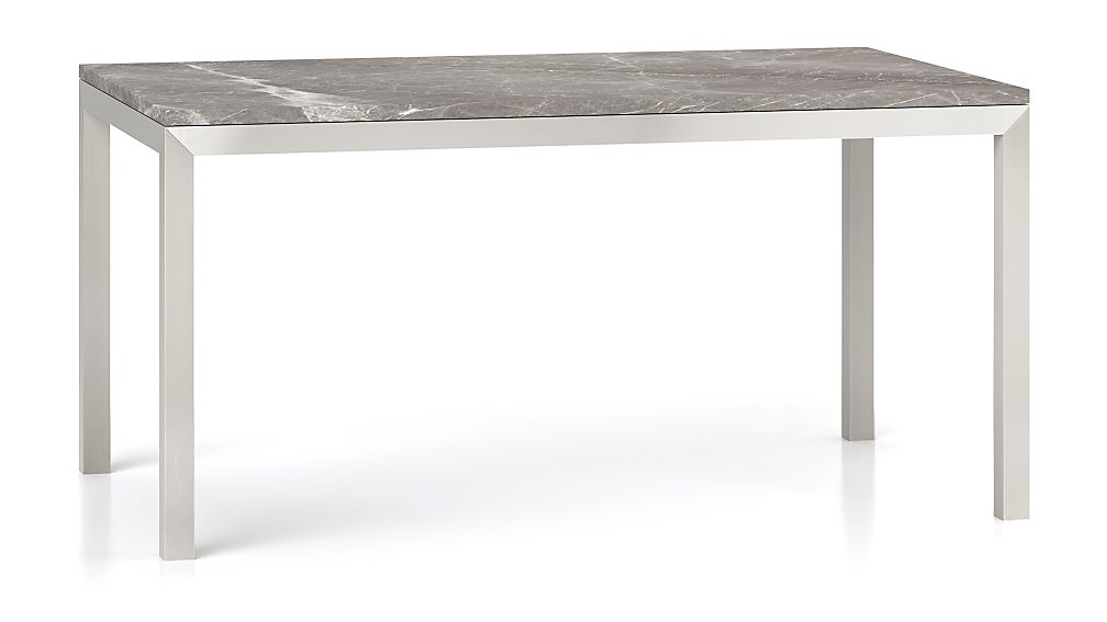 Parsons Grey Marble Top/ Stainless Steel Base 60x36 Dining Table - Image 1 of 7