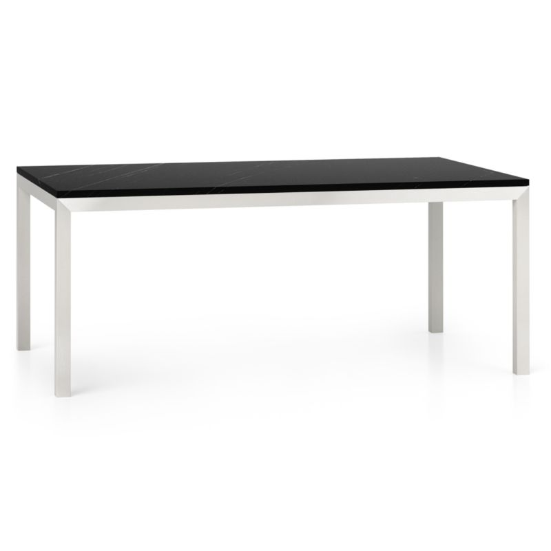 Parsons Black Marble Top Stainless Steel Base 72x42 Dining Table