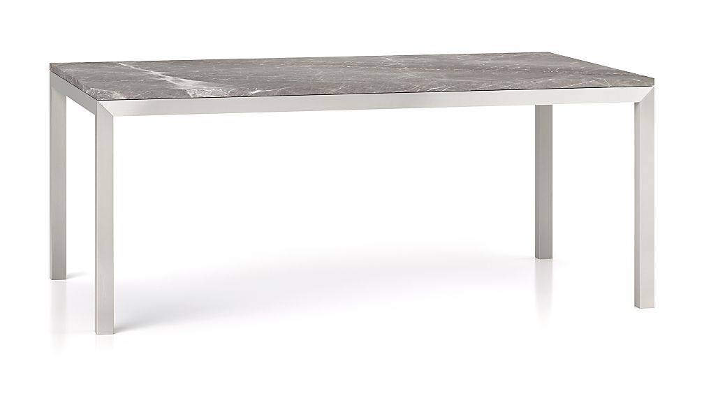 Parsons Grey Marble Top Stainless Steel Base X Dining Table - Grey marble top dining table