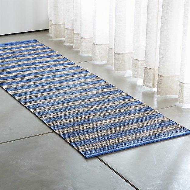 Sachi Blue Stripe Indoor/Outdoor Rug | Crate and Barrel