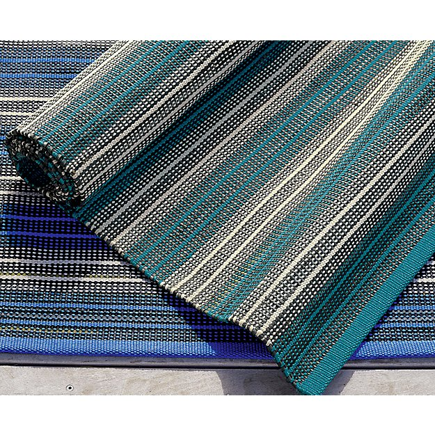 Sachi Teal Stripe Indoor/Outdoor Rug