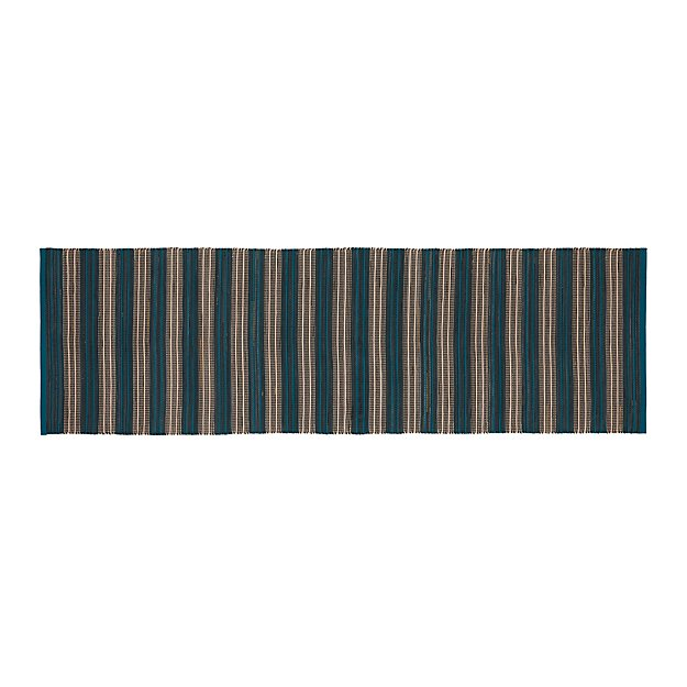 Sachi Teal Stripe Indoor/Outdoor 2.5'x8' Rug Runner