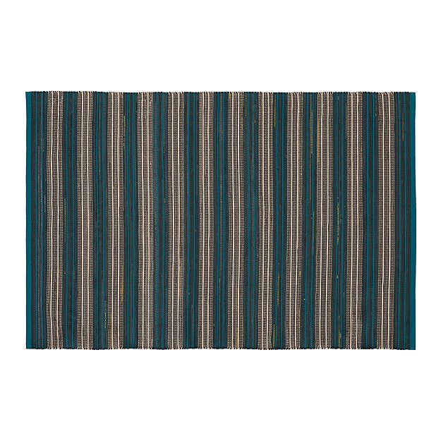 Sachi Teal Stripe Indoor/Outdoor 4'x6' Rug