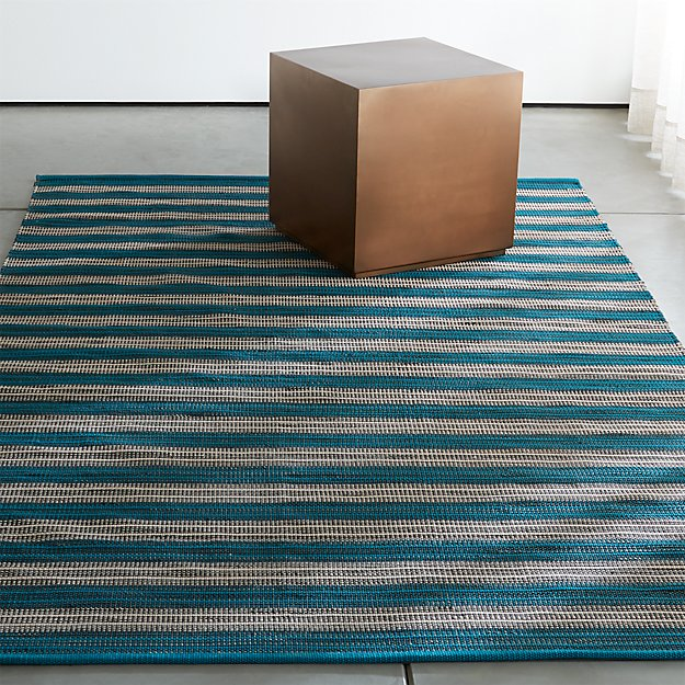 sachi teal stripe indoor/outdoor rug | crate and barrel