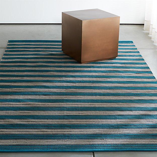 Sachi Teal Stripe Indoor/Outdoor Rug | Crate and Barrel