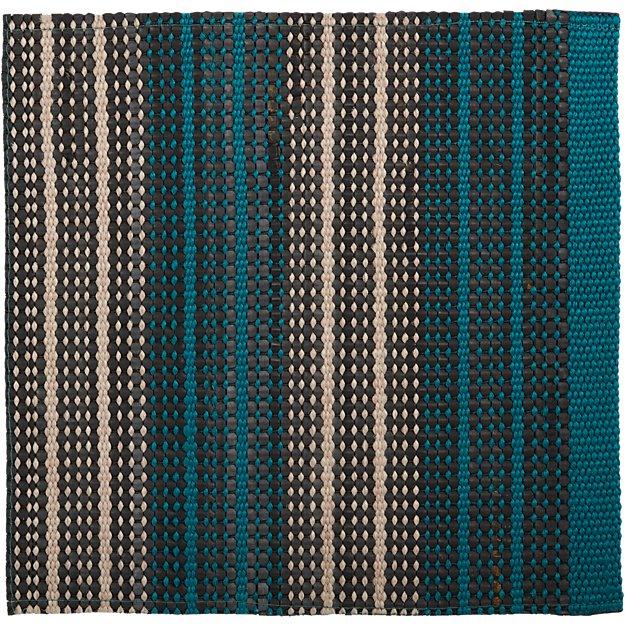 """Sachi Teal Stripe Indoor/Outdoor 12"""" sq. Rug Swatch"""