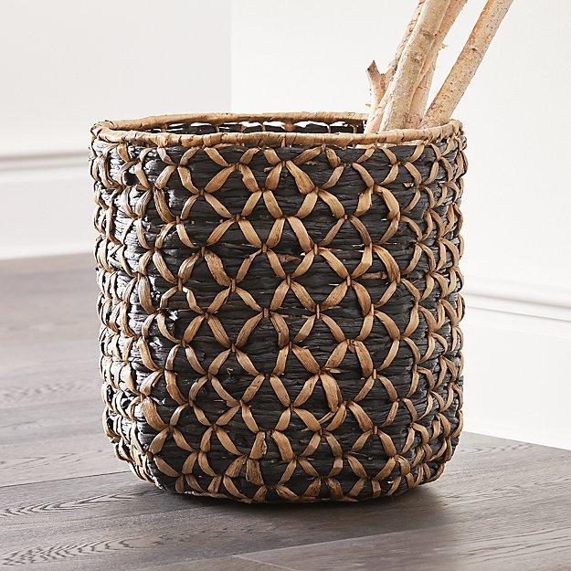 Safiyah Woven Black and Natural Basket - Image 1 of 6