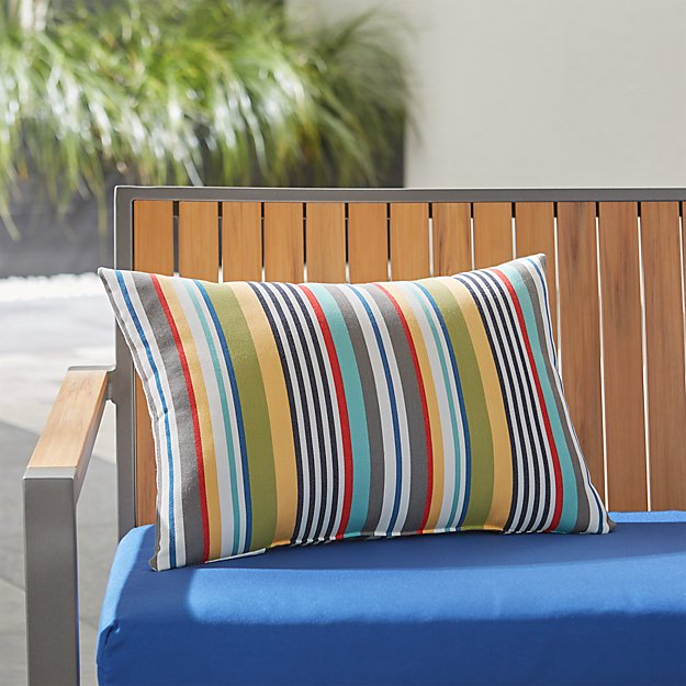 Sunbrella ® Sailing Striped Outdoor Lumbar Pillow