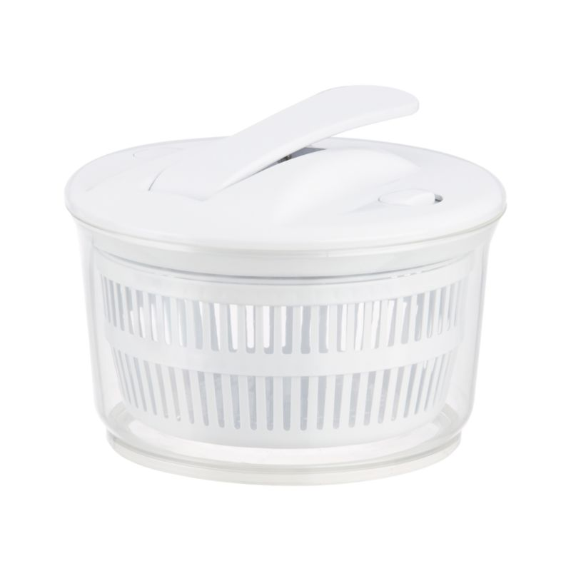 This smart salad spinner feature smooth, uniform operation, easy one-handed-pump action with lock switch, and stop button. Basket doubles as a colander; clear base with non-slip rubber grip doubles as a serving bowl.