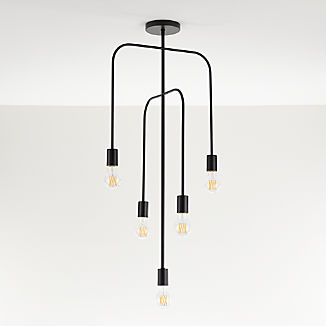 Salerno Black 5-Arm Pendant Light