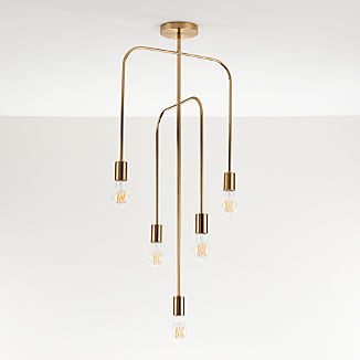 Salerno Brass 5-Arm Pendant Light