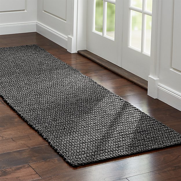 Salome Charcoal Grey Indoor/Outdoor Rug Runner   Crate and ...