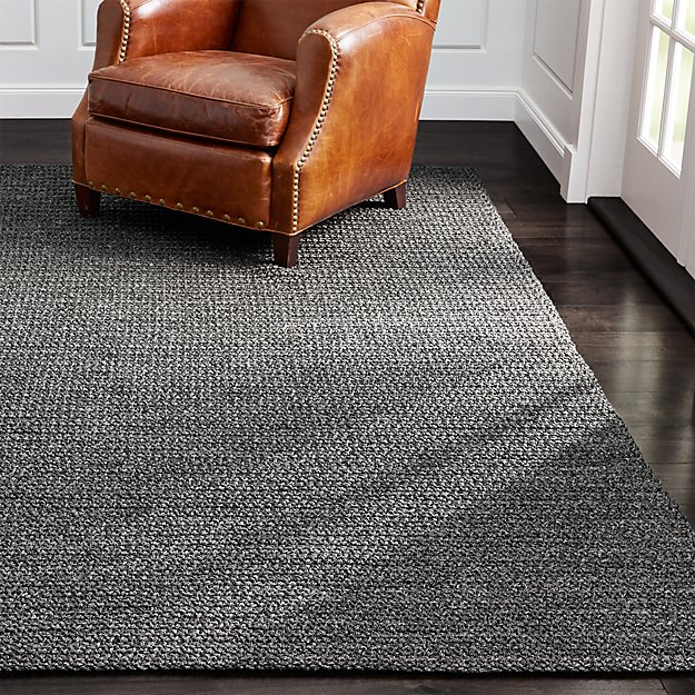 salome charcoal grey indoor/outdoor rug | crate and barrel