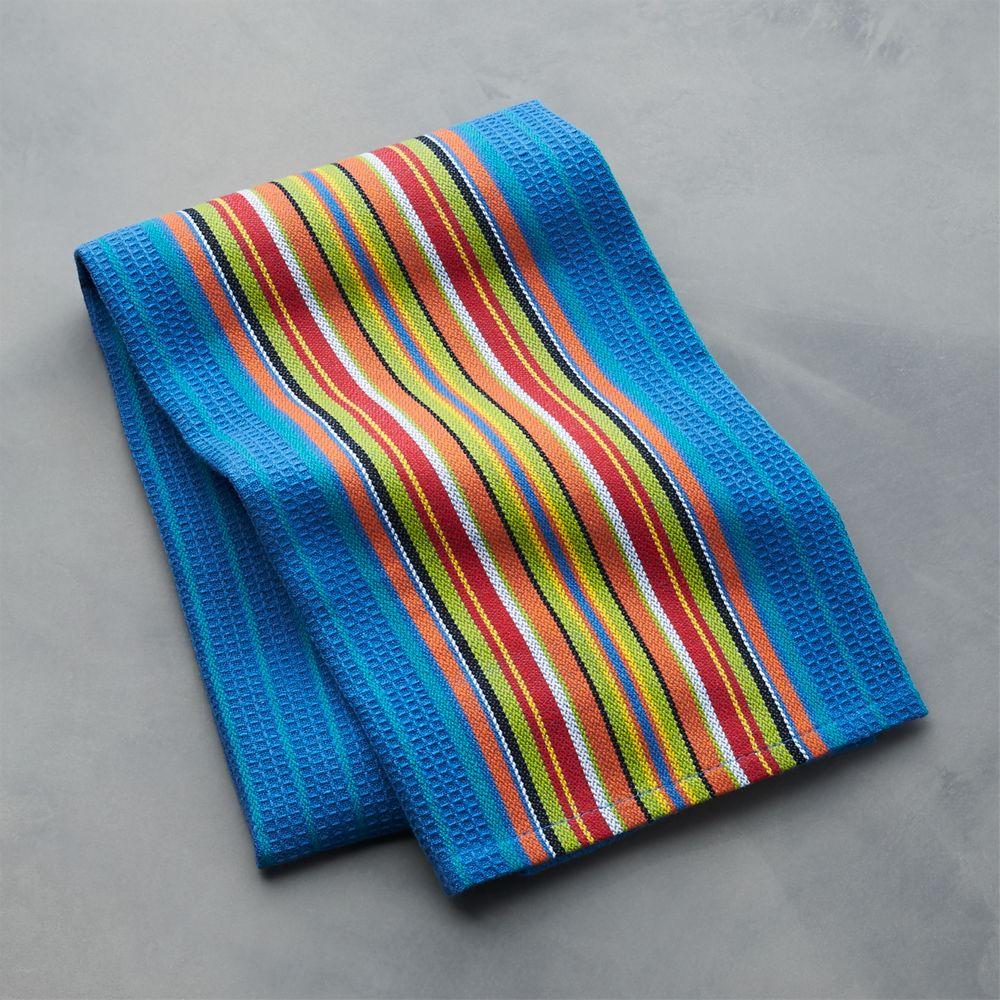 Salsa Dos Blue Dish Towel - Crate and Barrel