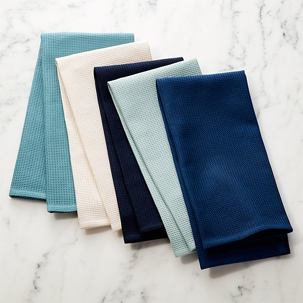 Salsa Solid Blues Dish Towels, Set of 5 - Image 1 of 2
