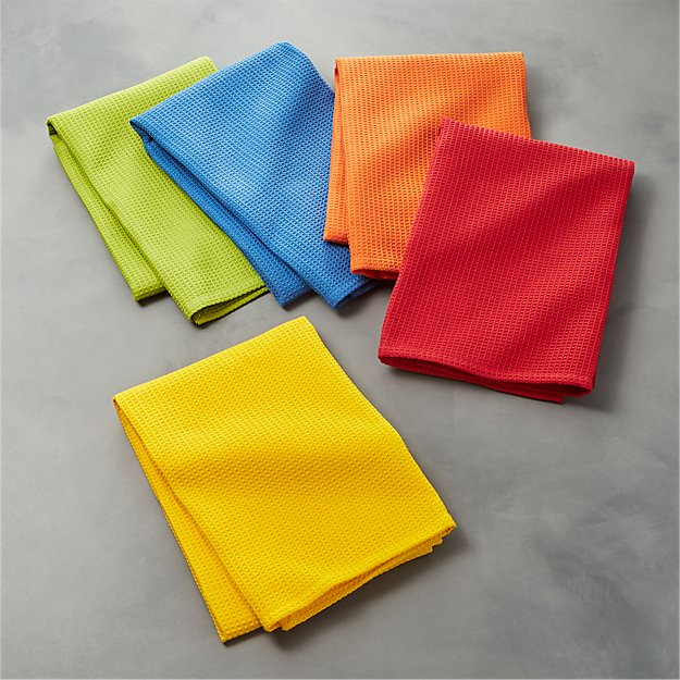Salsa Solid Dish Towels Set Of 5 Reviews Crate And Barrel
