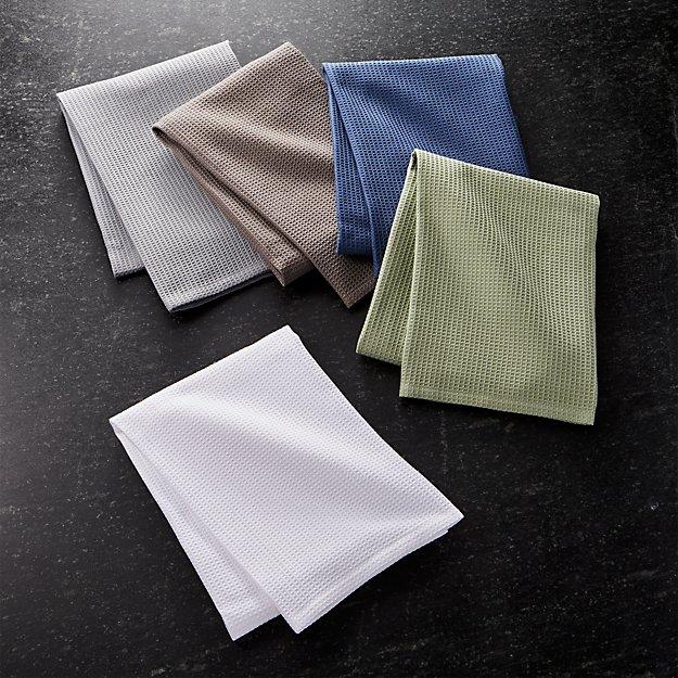 Salsa Solid Neutral Dish Towels Set Of 5 Reviews Crate And Barrel