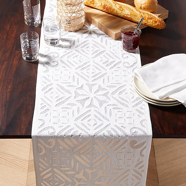 Samara White Lace Table Runner Reviews Crate And Barrel