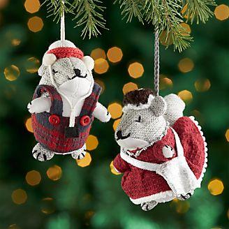 Samuel And Suzette The Squirrel Felt Ornaments
