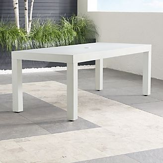 Outdoor Patio Dining Furniture Crate And Barrel - White metal outdoor dining table