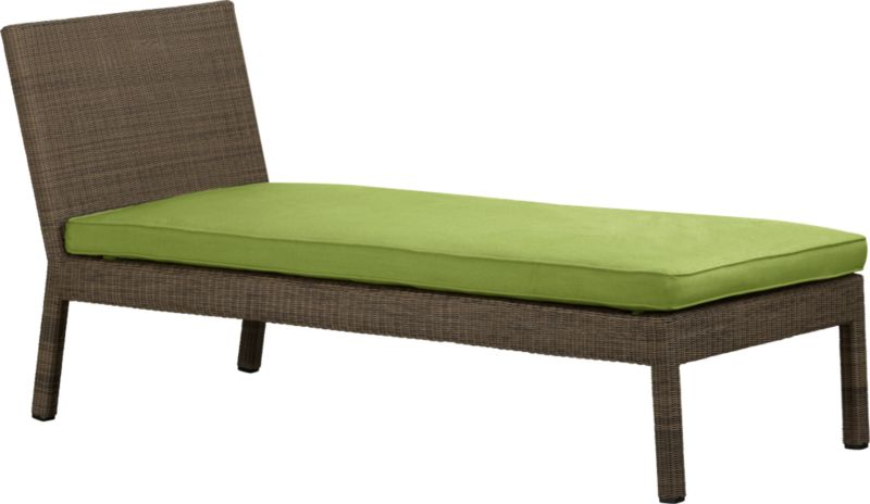 Ease into the new Sanibel lounge collection. With a breezy cabana look, resort-style seating is handwoven in all-weather resin wicker with warm honey and caramel tones. Small, tight weave wraps with precision over sturdy powdercoated aluminum. Sanibel's chaise is pitched perfectly for lounging, napping or paging through a good book. Optional cushion with self-welt detail is covered in fade- and mildew-resistant Sunbrella acrylic in kiwi green.<br /><br />After you place your order, we will send a fabric swatch via next day air for your final approval. We will contact you to verify both your receipt and approval of the fabric swatch before finalizing your order.<br /><br /><NEWTAG/><ul><li>Hand-woven, fade-resistant, recyclable resin wicker</li><li>Aluminum frame with powdercoat finish</li><li>For indoor or outdoor use</li><li>Cushion is fade- and mildew-resistant Sunbrella acrylic</li><li>Attaches with fabric tab fasteners</li><li>Spot clean cushion</li></ul>