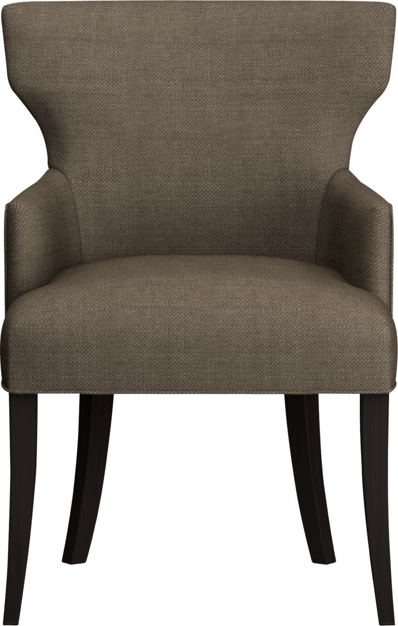 """Glamour returns to the table in a modern upholstered chair with sensuous curves at the shoulders, a trim cinched waist, and a great pattern that can mix with most anything. Plush seats and padded backs are upholstered in a textured basketweave fabric that's polished and refined. Classic modern hardwood legs are stained a rich cognac.<br /><br />After you place your order, we will send a fabric swatch via next day air for your final approval. We will contact you to verify both your receipt and approval of the fabric swatch before finalizing your order.<br /><br /><NEWTAG/><ul><li>Eco-friendly construction</li><li>Certified sustainable, kiln-dried hardwood frame</li><li>Tight seat and back cushions with soy-based foam and web suspension</li><li>Textured polyester fabric with self-welt detail</li><li>19""""H seat</li><li>Made in North Carolina, USA</li></ul>"""