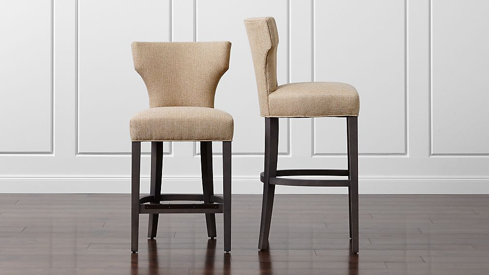 Sasha Upholstered Neutral Bar Stools Crate And Barrel