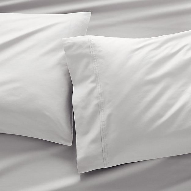 400 Thread Count Sateen Dove Pillow Cases Standard, Set of 2 - Image 1 of 7