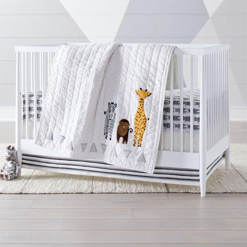 safari zebra crib bedding 3 piece set reviews crate and barrel. Black Bedroom Furniture Sets. Home Design Ideas